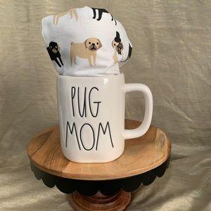 """Rae Dunn """"pug mom"""" mug with 2 pug towels"""